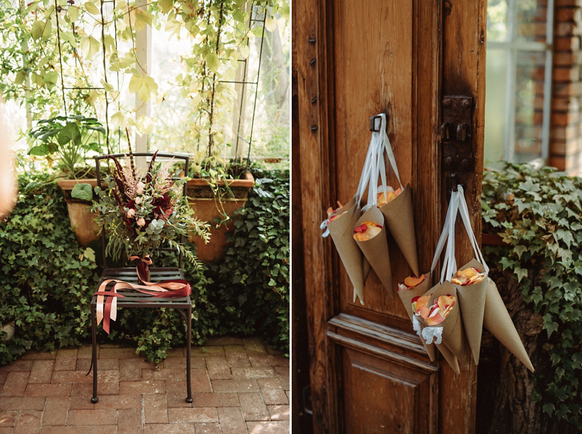 wedding details greenery,